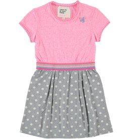 Mim-Pi polka-dot dress- pink & grey