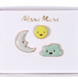 Meri Meri moon, cloud & sun pins