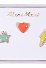 Meri Meri star, heart & lightening pins