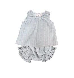 Go Gently Nation woven stripe baby set- blue hemp