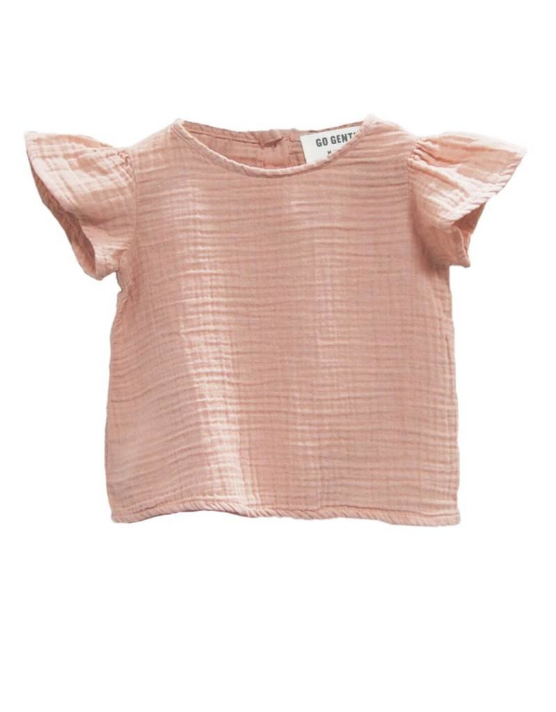 Go Gently Nation baby gauze flutter blouse- desert pink