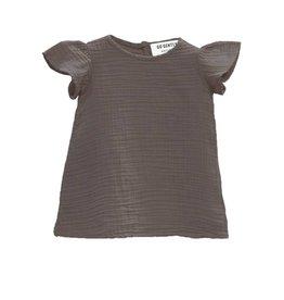 Go Gently Nation gauze flutter dress- charcoal