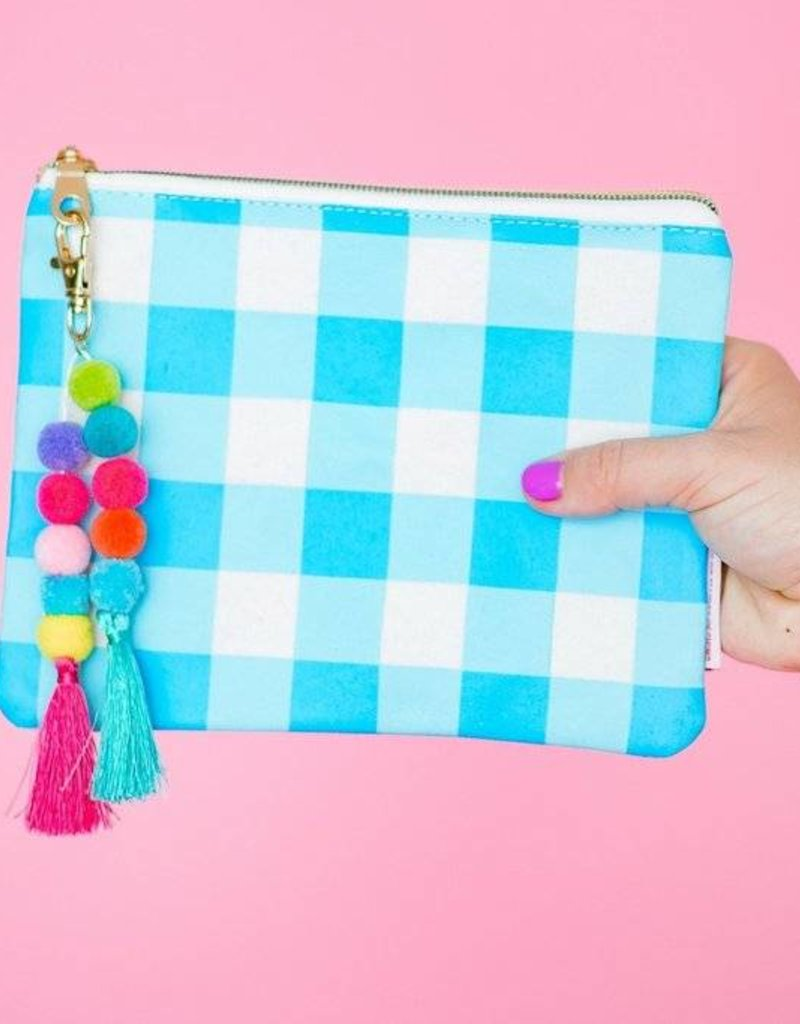 Taylor Elliott Designs blue gingham pouch w/ keychain