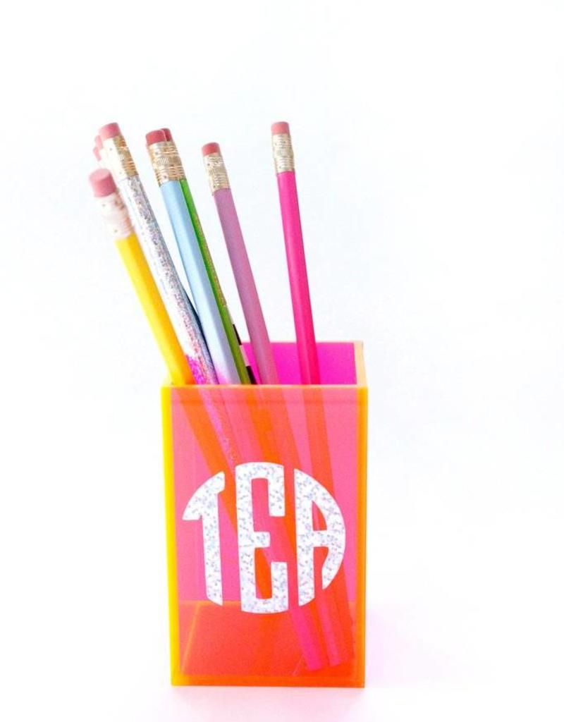 Taylor Elliott Designs acrylic pencil cup- neon pink