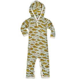 Milkbarn hooded romper blue fish