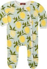 Milkbarn footed romper lemons