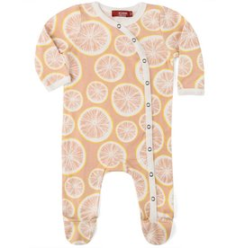 Milkbarn footed romper grapefruits