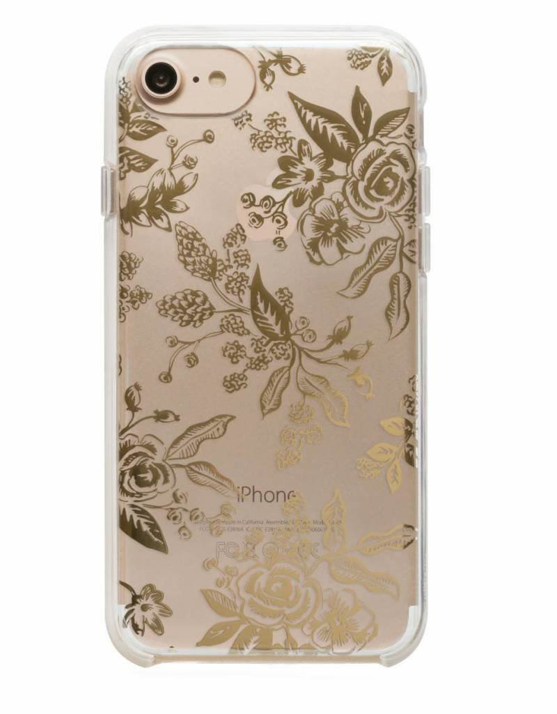 Rifle Paper Co. clear gold foil toile iphone case