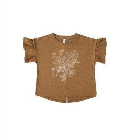 Rylee and Cru baby bouquet flutter tee- saddle