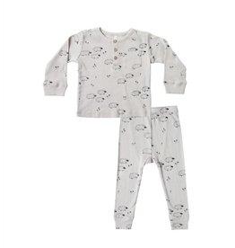 Rylee and Cru sheep ribbed pajama set- dove