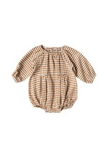 Rylee and Cru gingham bubble romper- saddle