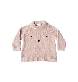 Rylee and Cru bear face chenille sweater- petal