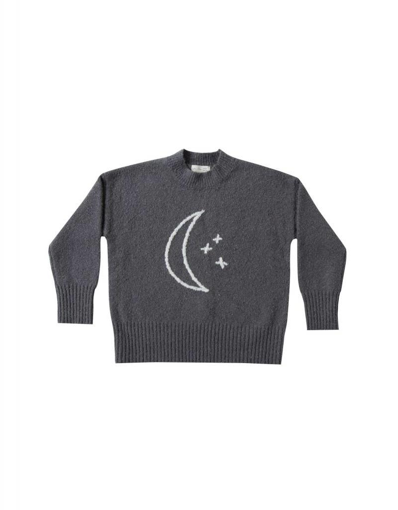 Rylee and Cru moon embroidered cassidy sweater- midnight