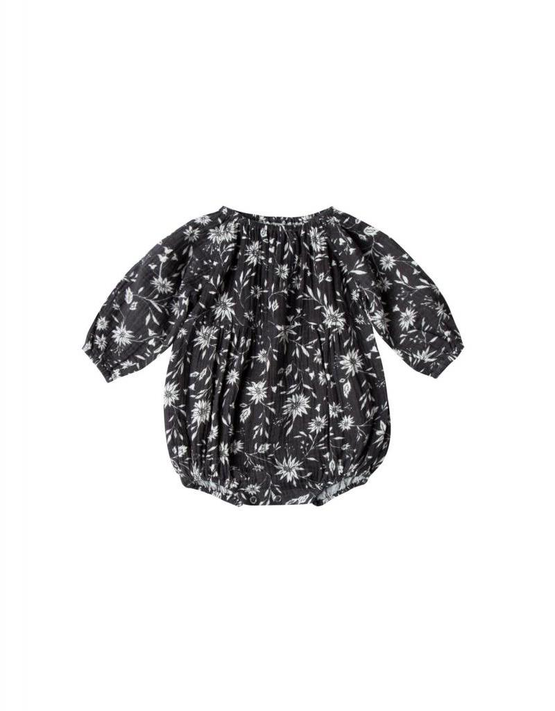 Rylee and Cru floral long sleeve bubble romper- midnight