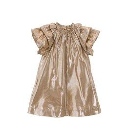 Velveteen ruby- frill sleeve gold dress