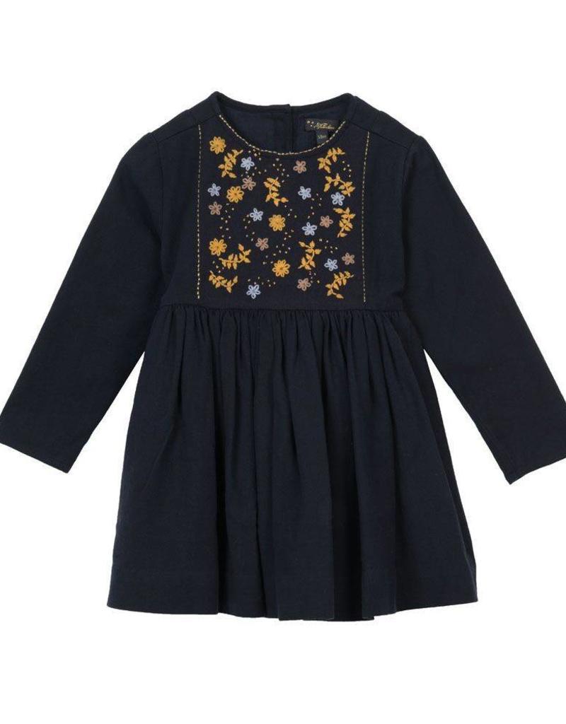 Velveteen camille- l/s embellished dress