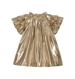 Velveteen opal- frill sleeve gold dress