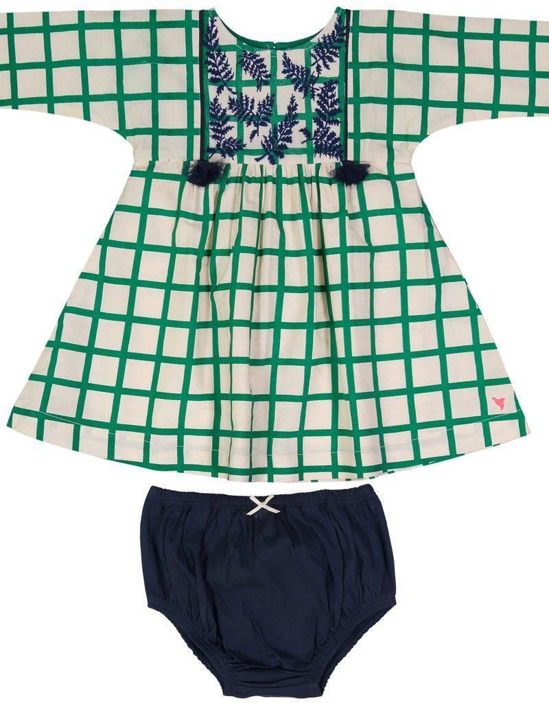 Pink Chicken bette dress set- green check