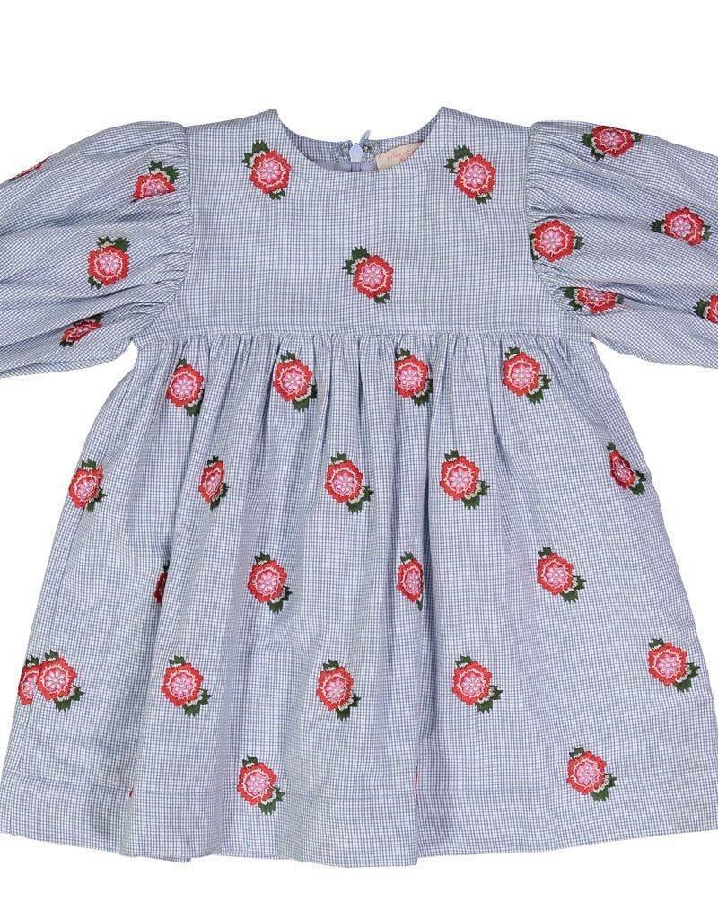 Pink Chicken baby bea dress- blue rose