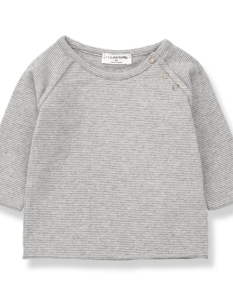 1+ in the Family eneko t-shirt- mid grey/ecru