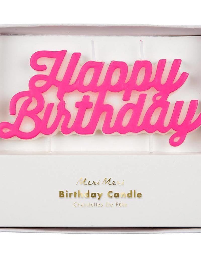 Meri Meri happy birthday candle- pink