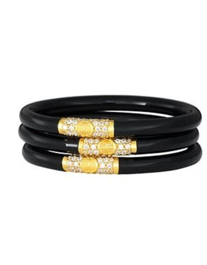 BuDhaGirl bangles (set of 3)- black w/ gold