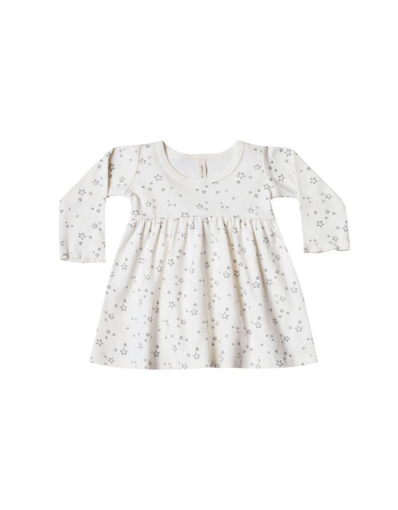 Quincy Mae l/s baby dress- ivory stars