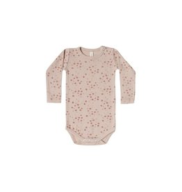 Quincy Mae ribbed l/s onesie- rose floral