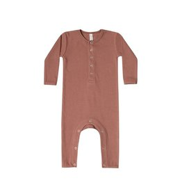 Quincy Mae ribbed baby jumpsuit- clay