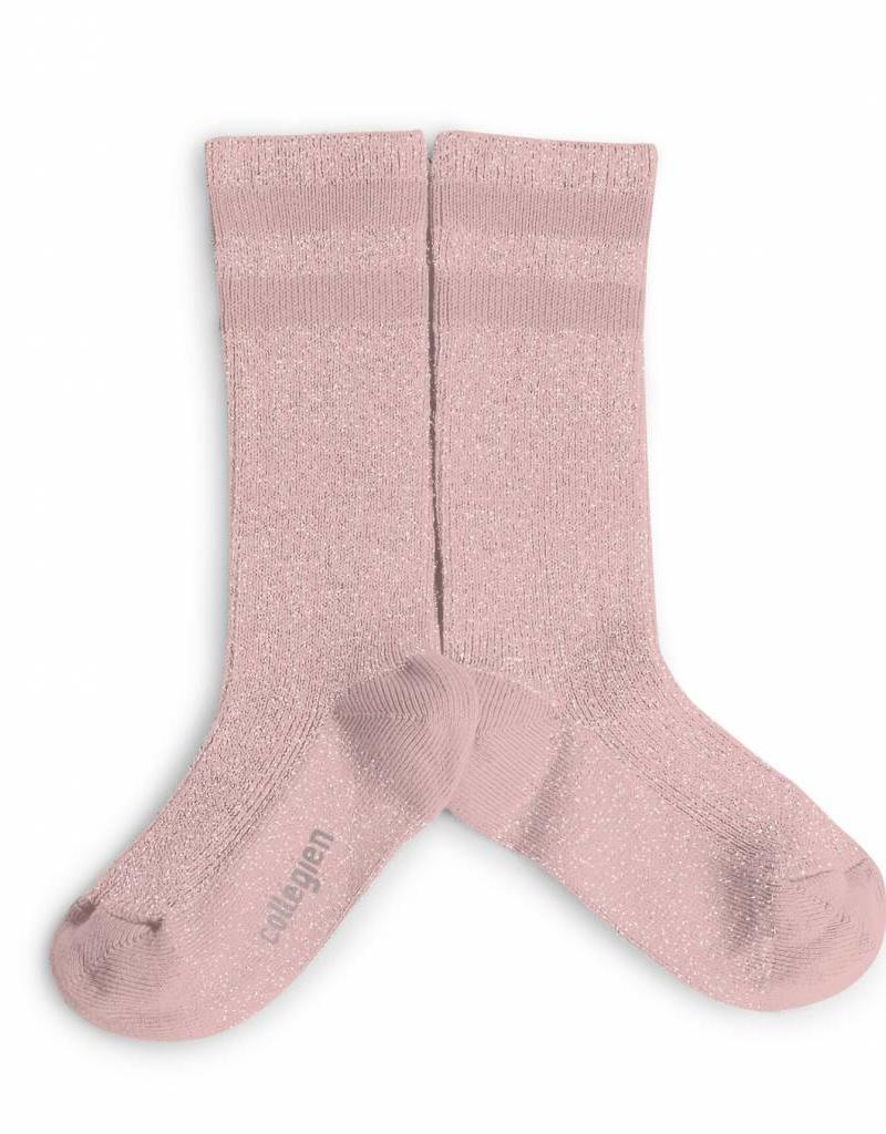 Collegien glitter varsity socks- rose quartz