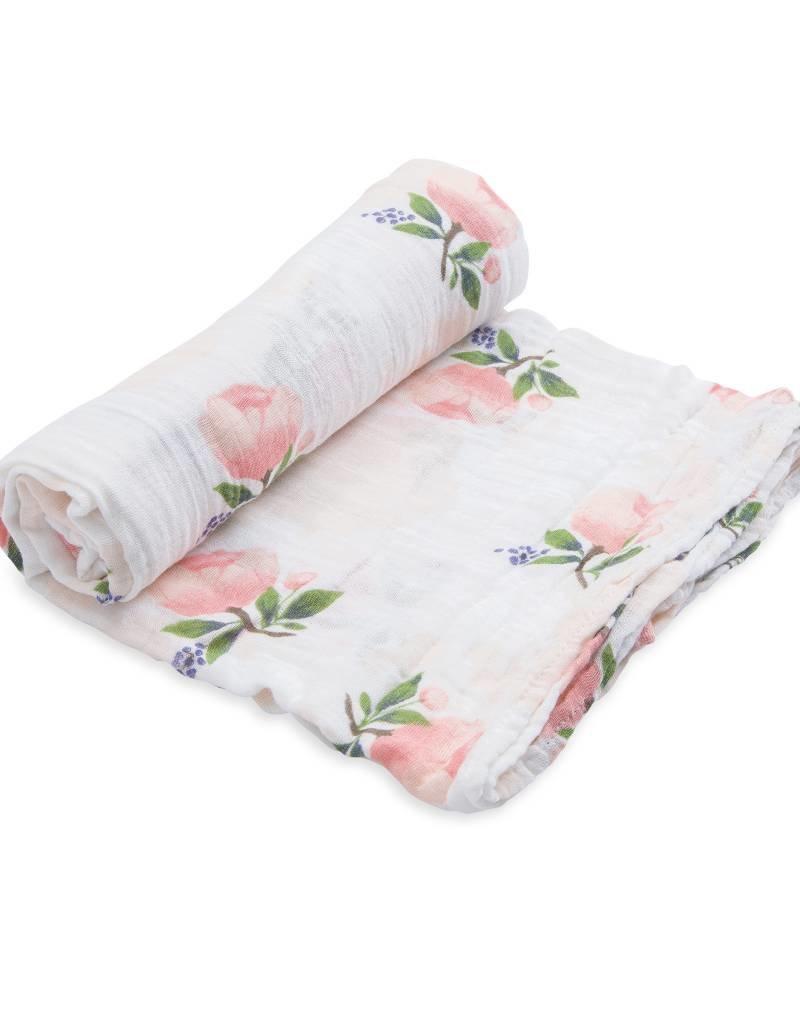 Little Unicorn cotton muslin swaddle- watercolor roses