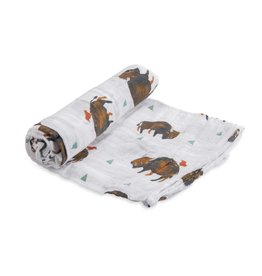 Little Unicorn cotton muslin swaddle- bison