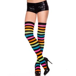 Music Legs Acrylic Rainbow Stripes Thigh Hi OS