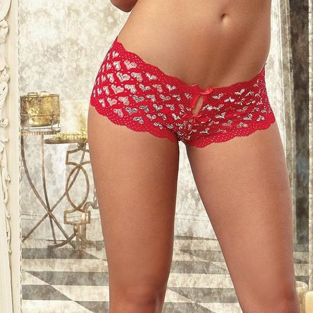"Dreamgirl Dreamgirl ""Heart Me"" Crotchless Open Bum Boyshort"