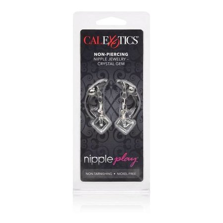 CalExotics Nipple Play Non-Piercing Nipple Jewelry Crystal Gem Clear