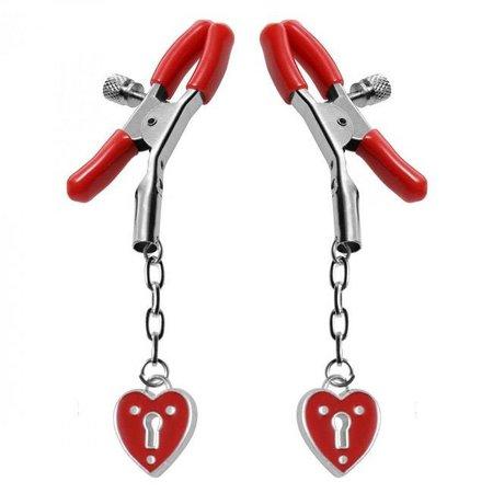 Master Series Crimson Tied Heart Padlock Nipple Clamps