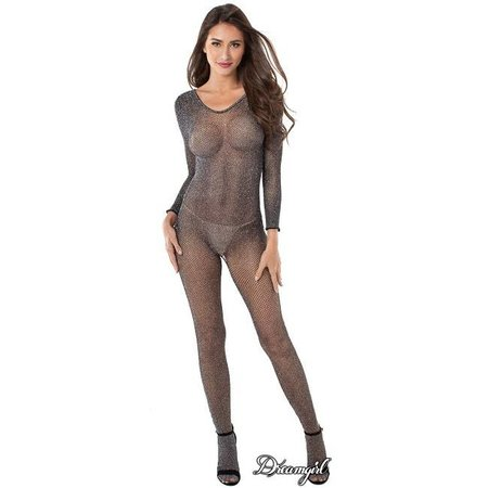 Dreamgirl Dreamgirl Metallic Knitted Fishnet Bodystocking OS