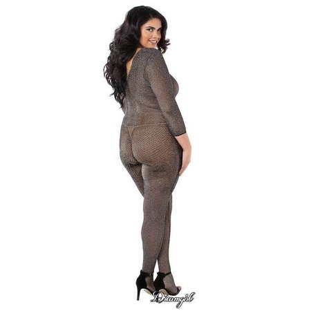 Dreamgirl Dreamgirl Metallic Knitted Fishnet Bodystocking OSX