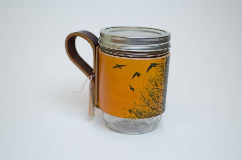 Flight Path Designs Yellow Bird Leather Mason Jar Sleeve