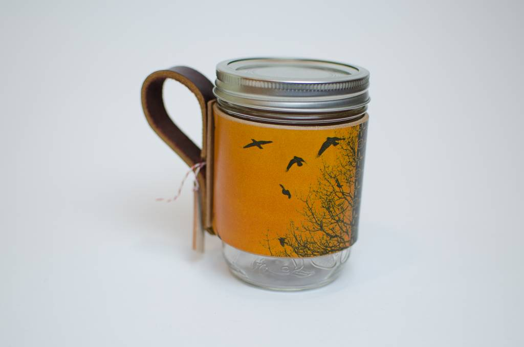 Yellow Bird Leather Mason Jar Sleeve