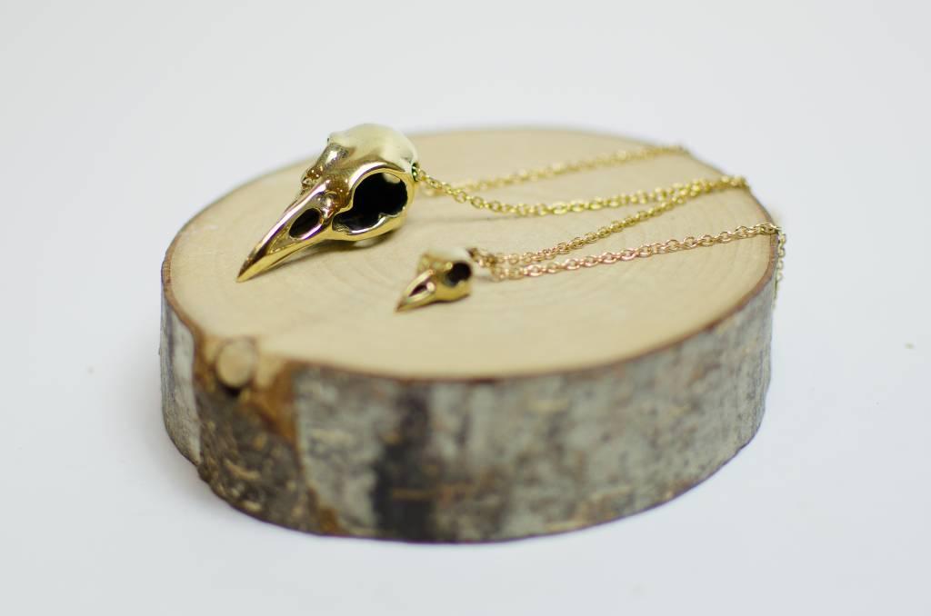 Defy (DT) Mini Brass Raven Skull Necklace