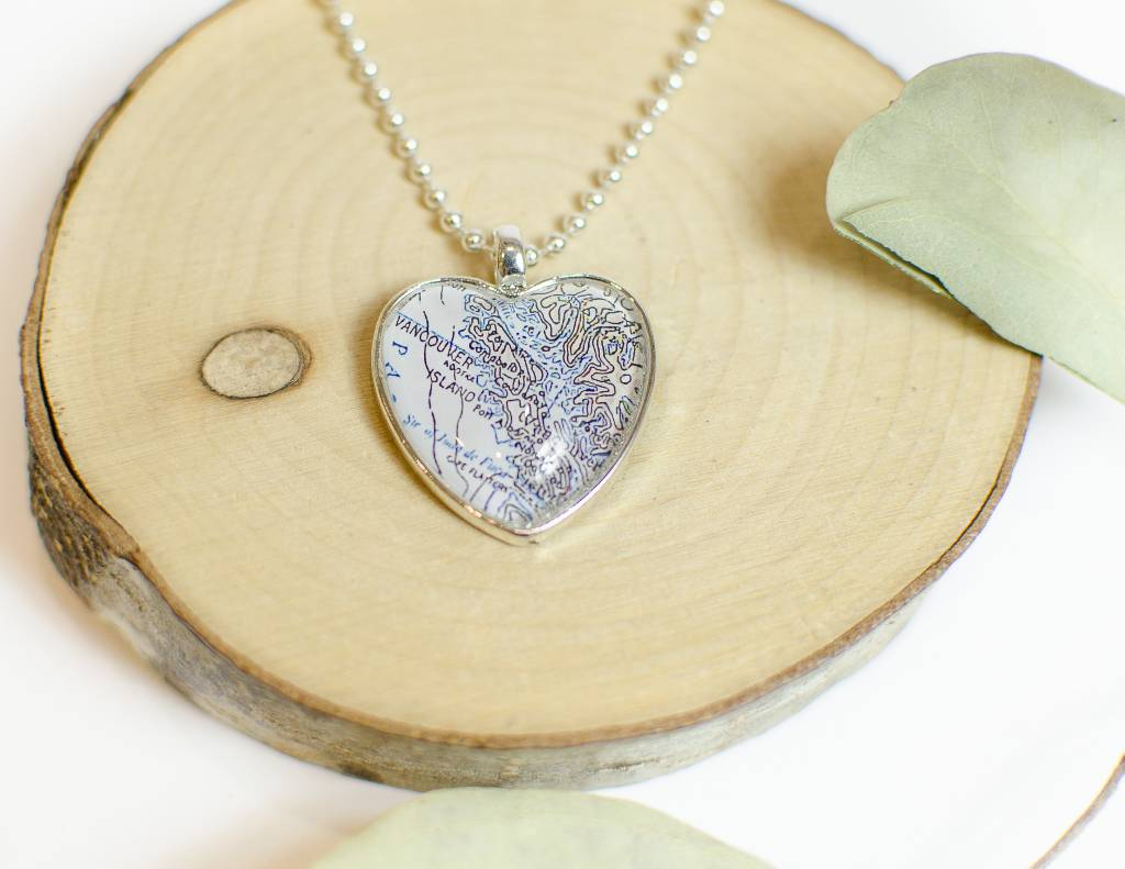 Nest 19 Vancouver Island Map Heart Necklace