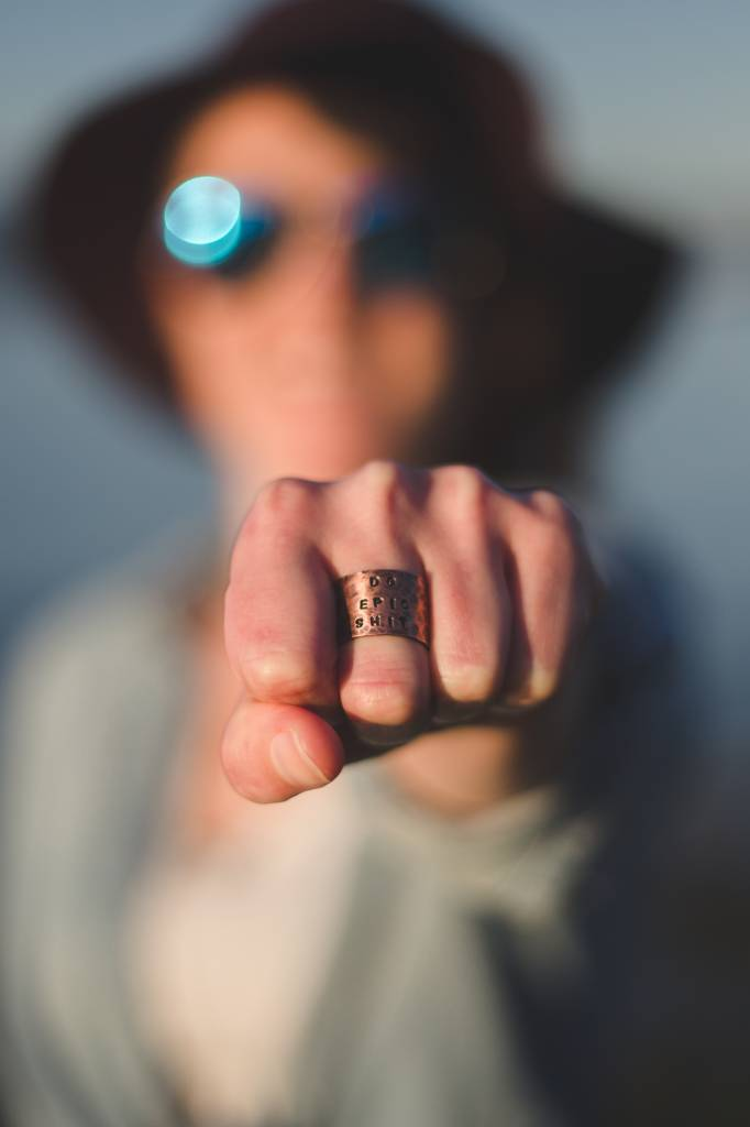 "Tracey Tomtene Hugger Of Seas ""Do Epic Shit"" Hand-stamped Copper Ring"