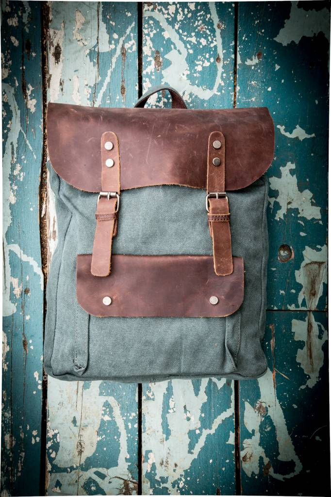 Canvas Leather Full Backpack - Green