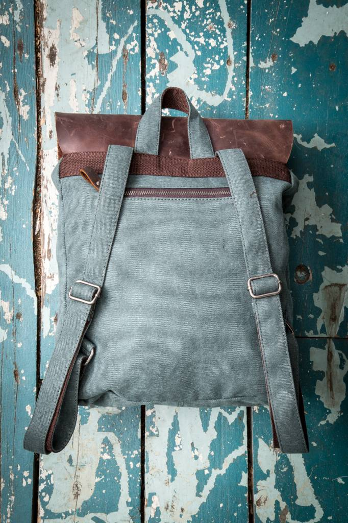 Gentlista (DT) Canvas Leather Full Backpack - Green