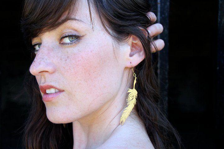 Mafia (DT) Brass Feather Stencil Earrings