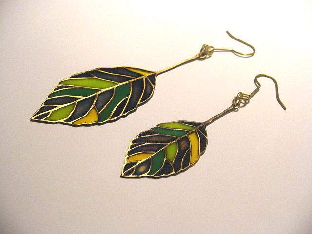 Brass Glass Leaves Earrings