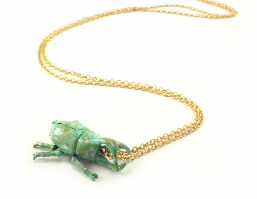 Patina Beetle Necklace