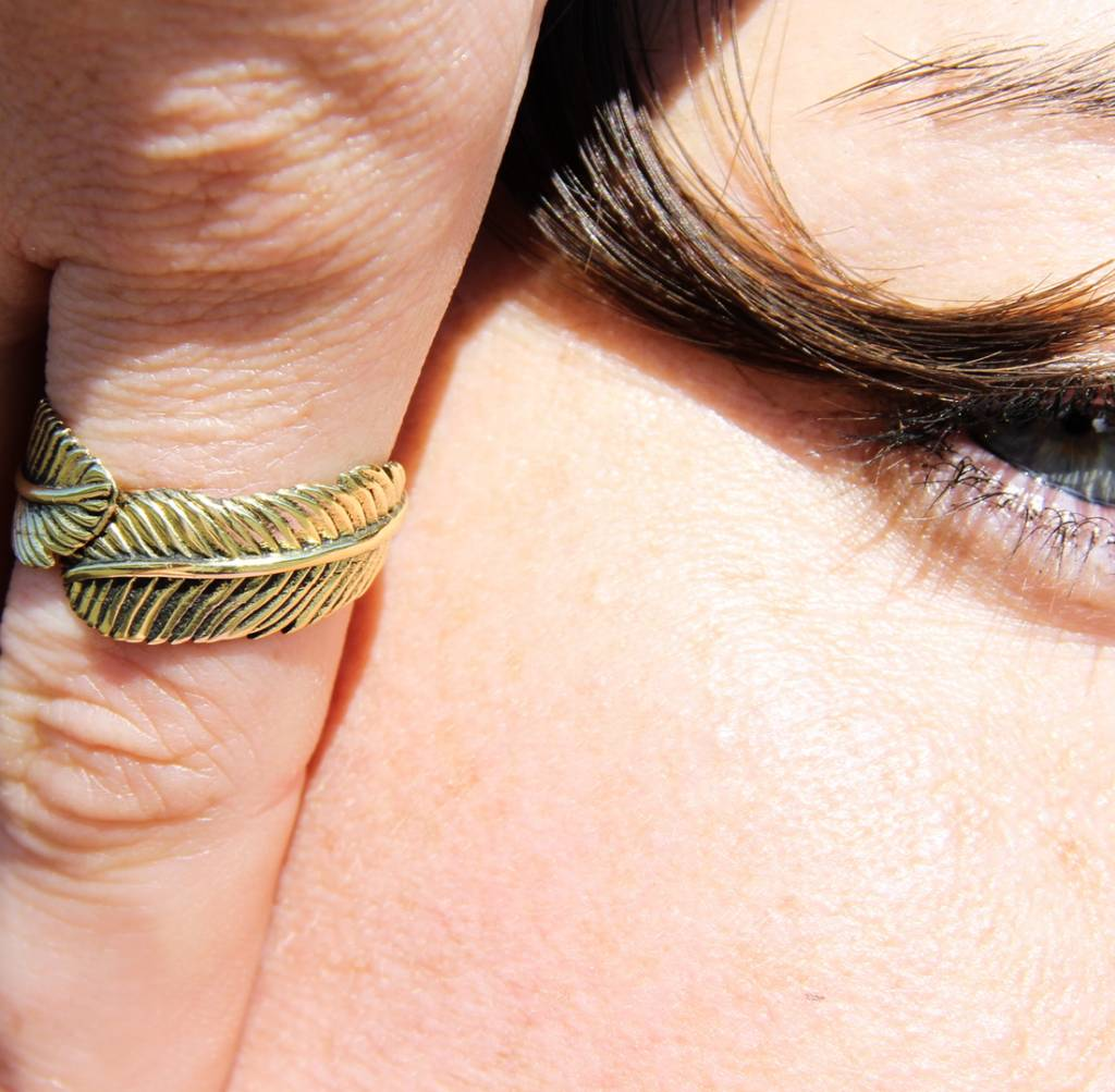 Brass Feather Ring