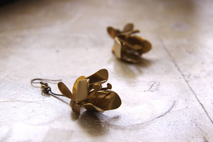 Brass Tulip Drop Earrings